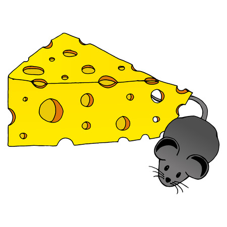 vector grey mouse with piece yummy cheese with holes. vector image