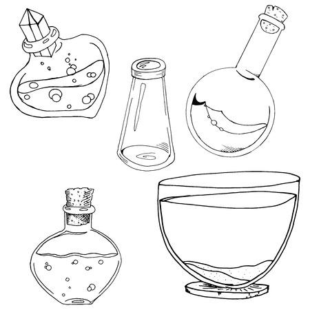 Set of glass jars. Vector illustration of a set of different cans. Hand drawn glass jars, vial, container. Ilustração