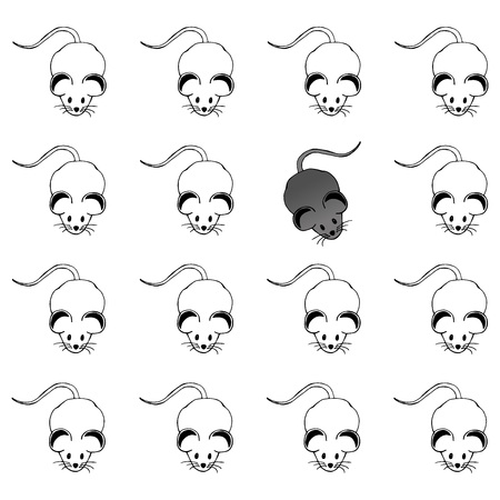 vector set white mouses and one grey mice Vector Illustration
