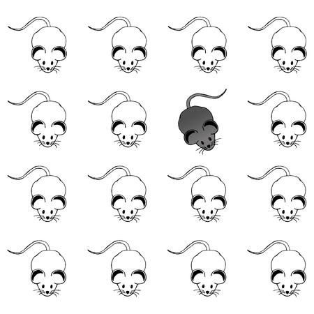 Vektorset weiße Mäuse und eine graue Mäuse Vektorgrafik