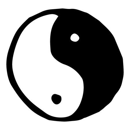 Yin Yang symbol. Vector illustration of yin and yang. Hand drawn yin yang symbol.