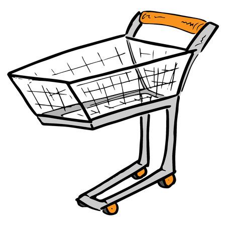 Empty shopping cart. Hand drawn sketch shopping cart icon. Illusztráció