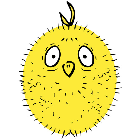 Fluffy chick icon. Vector illustration of cartoon chicken. Hand drawn funny fluffy chick.