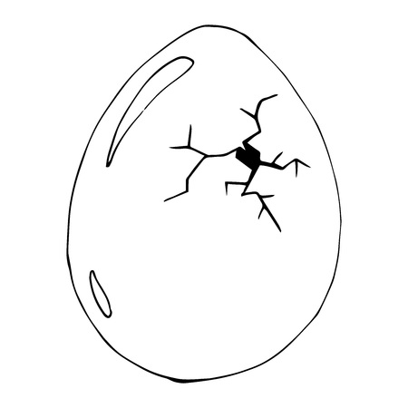 Cracked egg. Vector illustration of egg.  Hand drawn cracked egg. Vettoriali