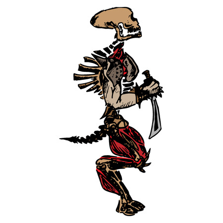 Skeleton with a sword. Sketch of an unusual skeleton. Extruded skull. Vector illustration. Hand drawn.