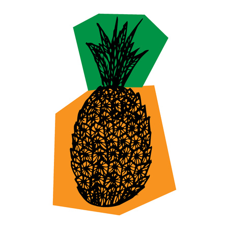 Pineapple icon. Vector of pineapple. Hand drawn pineapple.