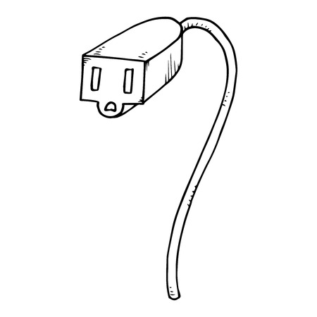 Extension cord icon. Vector of an electrical extension cord. Hand drawn extension.