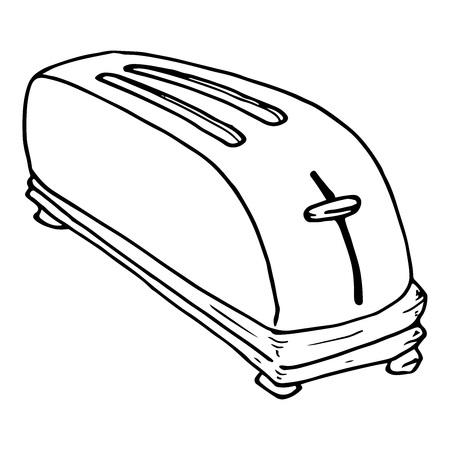 Broodrooster pictogram. Vector van een broodrooster. Broodrooster hand getrokken. Vector Illustratie