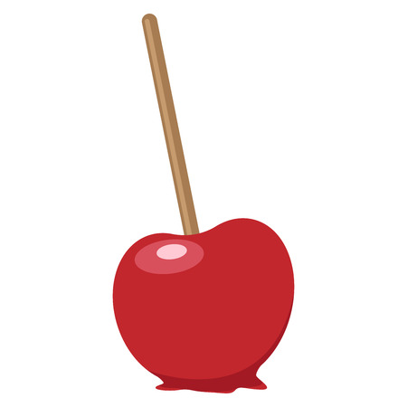 Caramel apple on a stick. Vector illustration of an apple in red caramel. Hand drawn caramel apple.