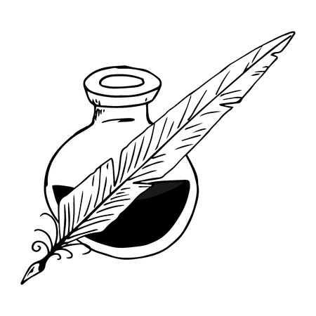 Inkwell with feather hand drawn. Vector illustration inkwell and feather. Inkwell with pen icon.