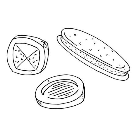 Set cookies icon. Vector illustration of cookies. Biscuit hand drawn. Standard-Bild - 113542564