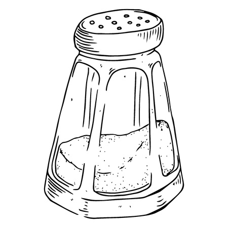 Jar of salt and pepper hand drawn. Vector illustration of a jar of spices. Icon pepper.