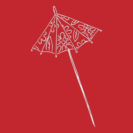 Cocktail umbrella. Vector illustration of a decorative umbrella for cocktails. Hand drawn cocktail umbrella. Ilustrace