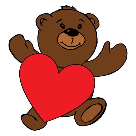 Teddy bear holding a heart. Vector illustration of a teddy bear with a red heart. Hand drawn teddy bear holding a red heart greeting card.