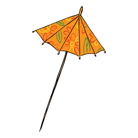 Cocktail umbrella icon. Vector illustration of a decorative umbrella for cocktails. Hand drawn cocktail umbrella.  イラスト・ベクター素材