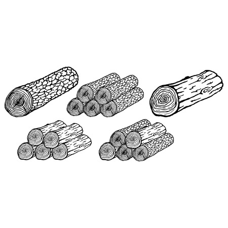 Log icon. Vector illustration of a log with texture. Log hand drawn. Ilustração
