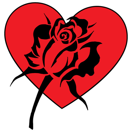Rose on heart greeting card. Vector illustration of a black rose on a red heart for Valentine's Day.