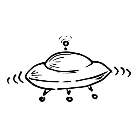 Icône OVNI. Illustration vectorielle d'un vaisseau spatial. Ovni de dessin animé dessiné à la main.