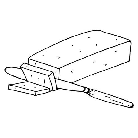 Butter cut piece icon. Vector illustration of a piece of butter. Hand drawn butter. Illustration
