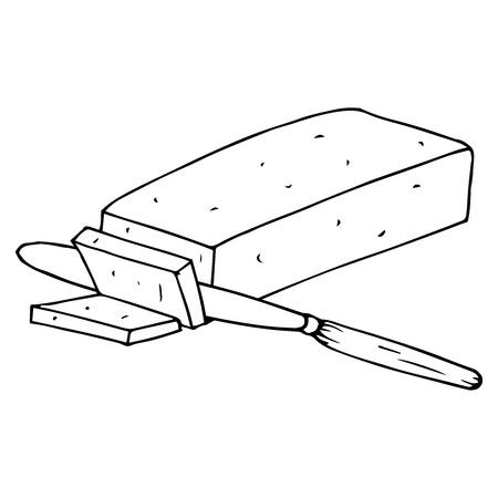 Icona del pezzo tagliato burro. Illustrazione vettoriale di un pezzo di burro. Burro disegnato a mano.