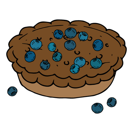 Pie chocolate icon. Vector illustration of homemade berry pie. Hand drawn blueberry pie for a holiday.