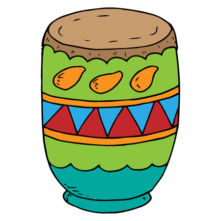 Clay pot for breeding powder paint. Vector illustration of indian clay pot for paint on Holi holiday. Hand drawn pot of liquid. Powder paint for the celebration of the Indian Holi Festival.  Illustration