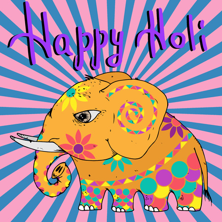 Elephant icon. Vector illustration of a bright Indian elephant in colors for the celebration of Holi. Hand drawn colored elephant. Festival of colors Holi. Indian festival Holi with cute elephant. Illustration