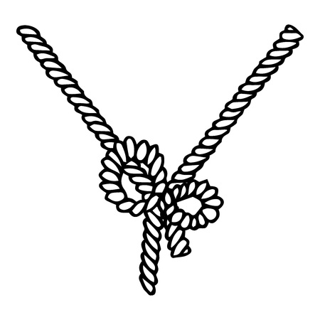 Rope icon. Vector illustration of a cartoon rope. Hand drawn rope tied with a bow.
