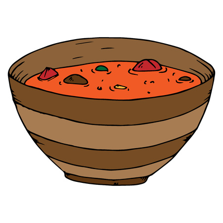 Soup in a bowl icon. Vector illustration of a bowl of hot soup, cereal. Hand drawn bowl of soup.