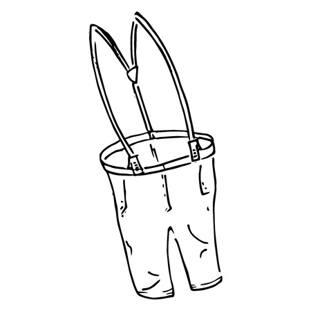Pants with suspenders. Vector illustration of cartoon pants with suspenders. Hand drawn children's pants and suspenders.