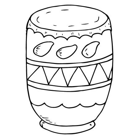 Vaso di argilla per l'allevamento di vernici in polvere. Vettore di pentola di argilla indiana per dipingere durante le vacanze di Holi. Vaso di liquido disegnato a mano. Vernice in polvere per la celebrazione dell'Indian Holi Festival.