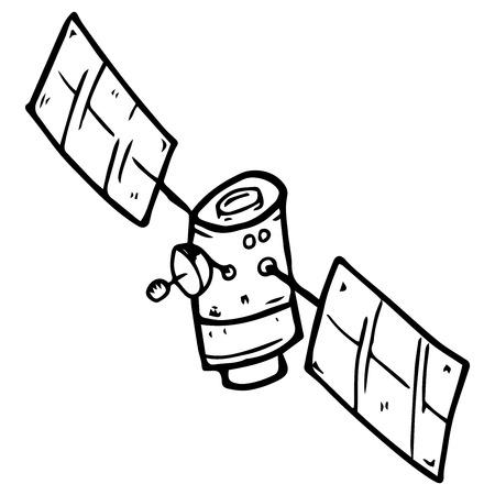 Satélite espacial. Ilustración de vector de un satélite móvil. Satélite espacial dibujado a mano.