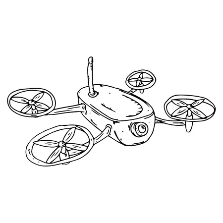 Drone icon. Vector illustration of drone. Hand drawn drone. Stock Illustratie