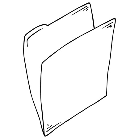 Folder document symbol. Vector folder file. Hand drawn folder icon.