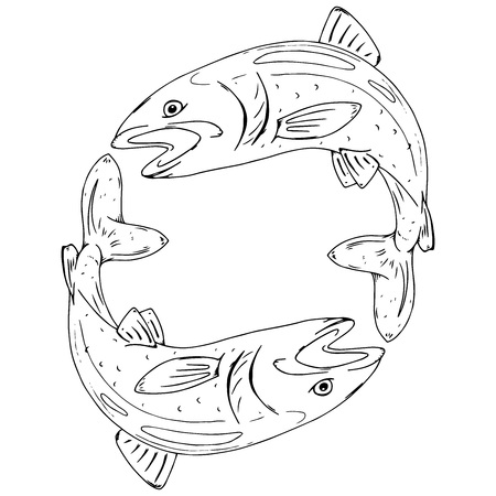 Fish icon. Vector illustration of a fish for food. Hand drawn logo fish.