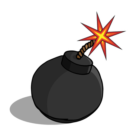 Bomb icon. Vector illustration of a bomb. Hand drawn bomb.