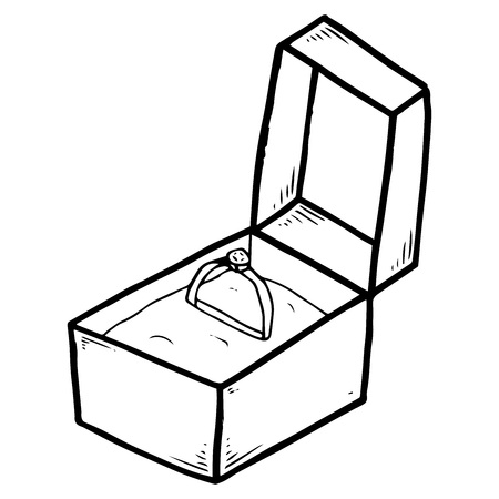 Box with an engagement ring. Vector illustration box with ring. Hand drawn ring with a diamond in a velvet box. Vector Illustration