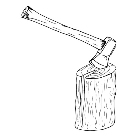 Ax in the log icon. Vector illustration of a log with an ax. Hand drawn ax.