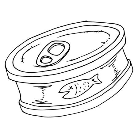 Icône de nourriture de poisson en conserve. Illustration vectorielle du logo de poisson en conserve. Nourriture en conserve dessinée à la main. Logo