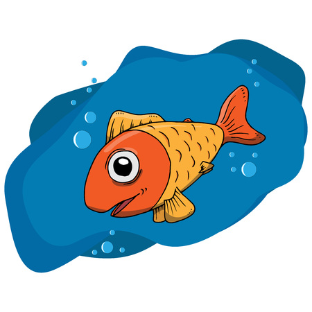 Fish icon. Vector illustration cartoon fish. Hand drawn funny fish. Иллюстрация