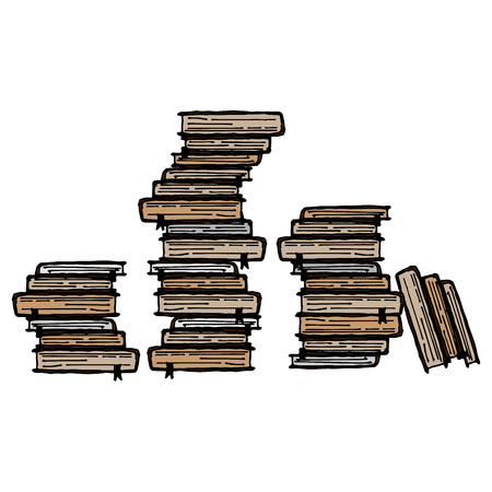 Book icon. Vector illustration of a stack of book. Hand drawn  library of book.