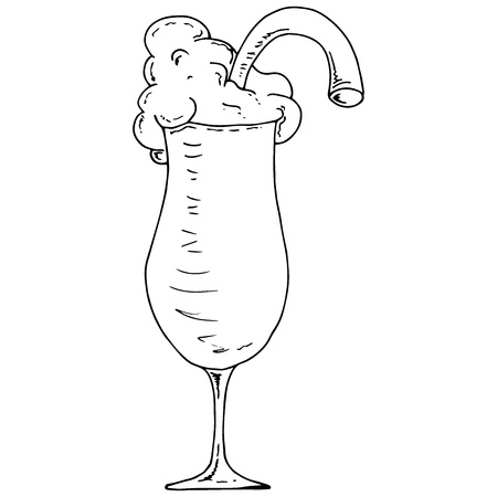 Cocktail icon. Vector illustration of a cocktail in a glass goblet. Hand drawn cocktail. Milkshake with a straw.  Illustration