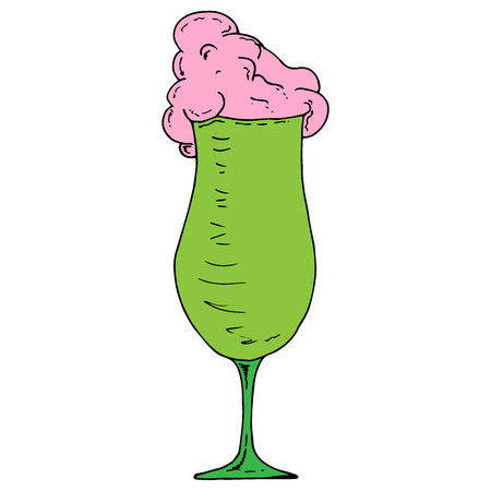 Cocktail icon. Vector illustration of a cocktail in a glass goblet. Hand drawn cocktail.