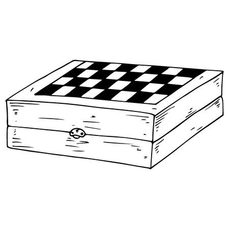 Échiquier. Jeu d'échecs d'illustration vectorielle, dames. Planche de bois dessinée à la main pour les échecs, les dames.