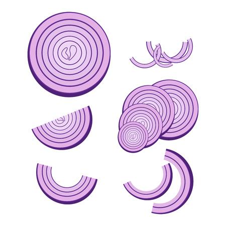 Zwiebelsymbol einstellen. Vektor-Illustration eines Stücks Zwiebel. Handgezeichnete gehackte Zwiebelringe. Vektorgrafik