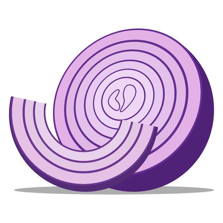 Icono de cebolla. Ilustración de vector de un trozo de cebolla. Aros de cebolla picada dibujados a mano.