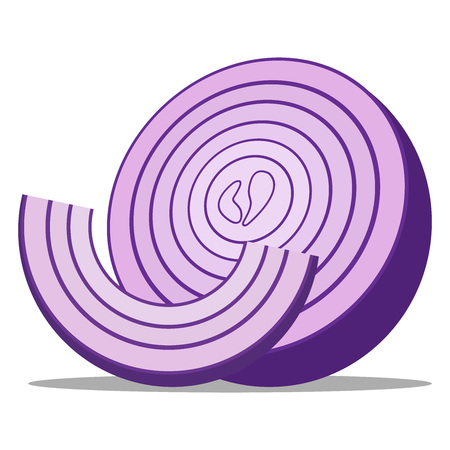 Onion icon. Vector illustration of a piece of onion. Hand drawn chopped onion rings.