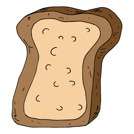Bread icon. Vector illustration of a piece of bread. Hand drawn piece of bread. Ilustrace