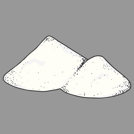 Salt, pepper, spices hand drawn. Vector illustration of a hill of salt. Icon spices, pepper.