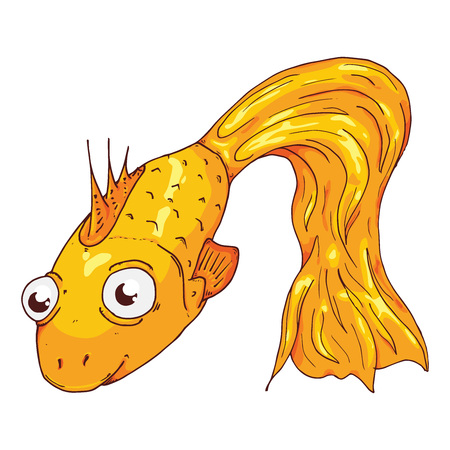 Fish hand drawn. Vector illustration cartoon fish. Cartoon fish icon. Illustration